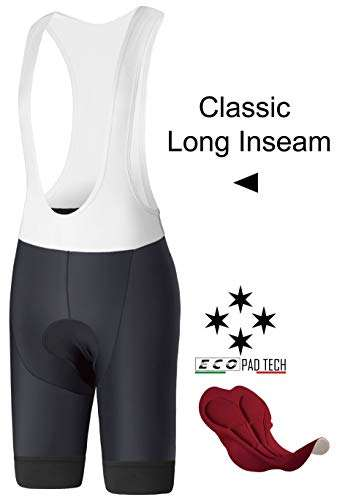 InPro Sports Mens Long Inseam Cycling Bibs Shorts Padded, Compression Bike Bibs, Italian Pro Chamois