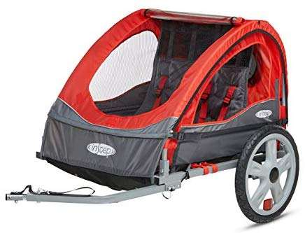 InStep Single Seat and Double Seat Foldable Tow Behind Bike Trailers, Featuring 2-in-1 Canopy and 16-Inch Wheels, for Kids and Children, Multiple Colors Available (Renewed)