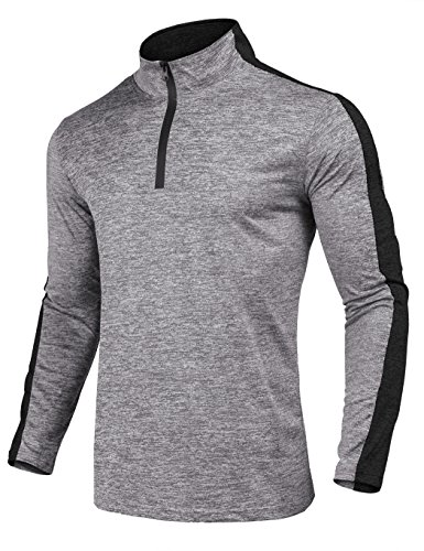 JINIDU Men's Long Sleeve Active 1/4 Zip T Shirt Quick Dry Sports Tops Cycling Jersey Running Training Gym Pullover