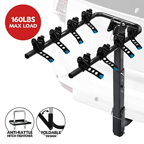 LITE-WAY 4-Bike Hitch Mounted Rack - Heavy Duty Bicycle Carrier Fit Most Sedans, Hatchbacks, Minivans, SUV (2 Inch Receiver)