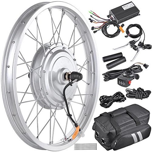 "LeeMas Inc Powerful 750W 36V Brushless Hub Motor Electric Bicycle Conversion Kit 20"" Front Wheel + Electric Controller + Brake Pullers + Speed Throttle + Handlebar Grips"