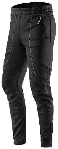 Letook Winter Windproof Thermal Fleece Bike Pants Men for Cycling Running Jogging