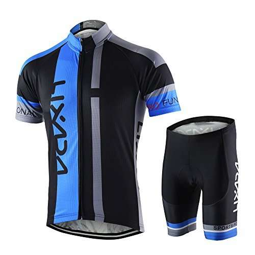 Lixada Men's Cycling Jersey Set Breathable Quick-Dry MTB Road Bike Cycling Clothing Set Short Sleeve Biking Shirt with 3D Gel Padded Shorts