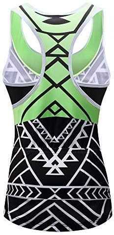 Lo.gas Women's Geometric Print Cycling Tank Riding T-Back Tops with Back Pockets Green/Pink/Yellow