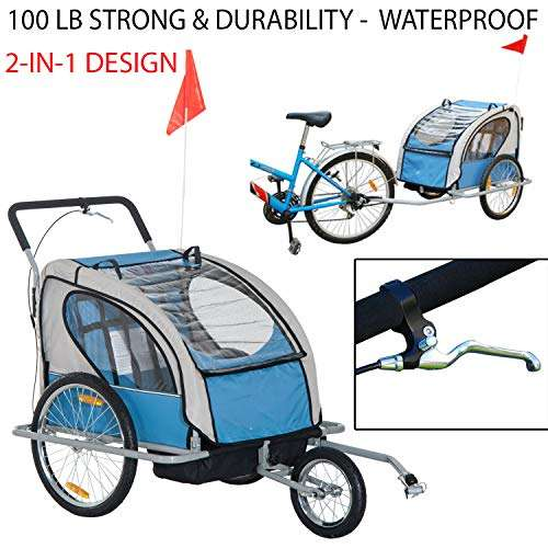 Loopcats 100 Lb Strong & Durability 2-in-1 Design Elite Double Child Bike Stroller Baby Bike Traile - Removable Waterproof Top Cover Child Bicycle Kids Jogger - Blue