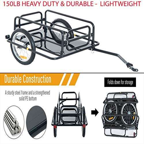 Loopcats 150lb Heavy Duty & Durable Steel Frame Bicycle Bike Cargo Trailer Luggage Cart Carrier Quick and Easy Attaching and Removing. Black