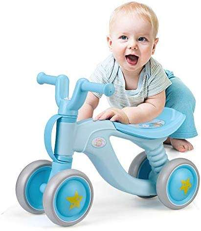 Luddy Baby Balance Bike Bicycle Toddler Walker Children Walker 18-36 Months Toys No Pedal for 2 Year Old Infant 4 Wheels Toddler First Birthday Gift Bike