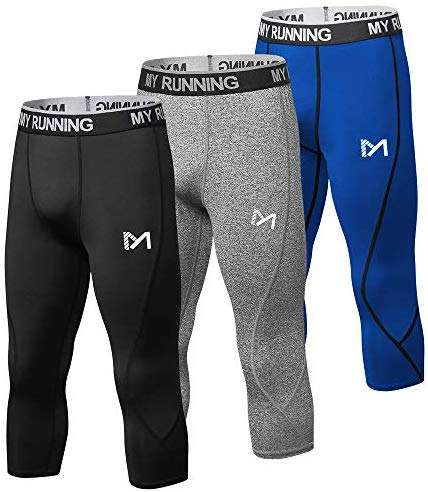 MEETYOO Men's 3/4 Compression Pants Leggings Tights, Cool Dry Sport Workout HeatGear Capri Base Layer Running Cycling