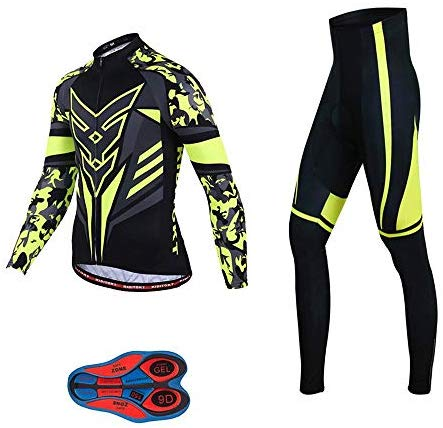 Men Cycling Jersey Set Long Sleeve Pro Cycling Clothes Riding Quick Dry Jacket + Cycling Bib with 9D Pad - Bike Clothing Kit