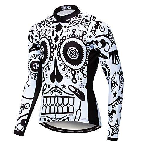 Men's Cycling Jersey Long Sleeve Pro Brand Team Reflective Bicycle Shirts Jacket Bird Skull