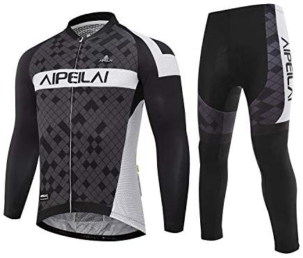 Men's Cycling Jersey Suit Full Sleeve Bicycle Jersey Clothing Set + 3D Padded Breathable Pant Sportswear