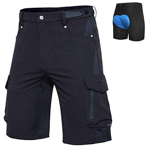 Mens Mountain Bike Shorts Padded MTB Shorts Baggy Cycling Bicycle Bike Shorts with Padding Wear Relaxed Loose-fit
