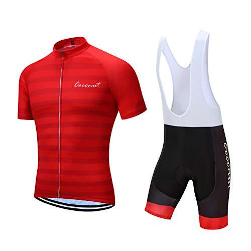 Men's Short Sleeves Cycling Jersey Set Bike Jersey Suit Cycling Shirt Bib Shorts with 3D Gel Padded