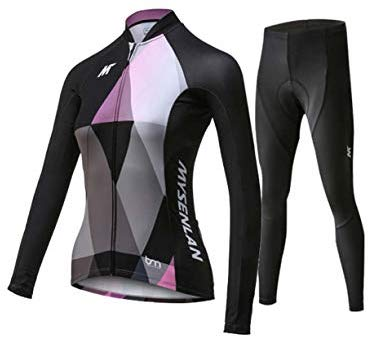 Mysenlan Women's Cycling Long Sleeve Breathable Jersey Set 3D Padded Long Pants Bike Shirt Bicycle Tights Clothing