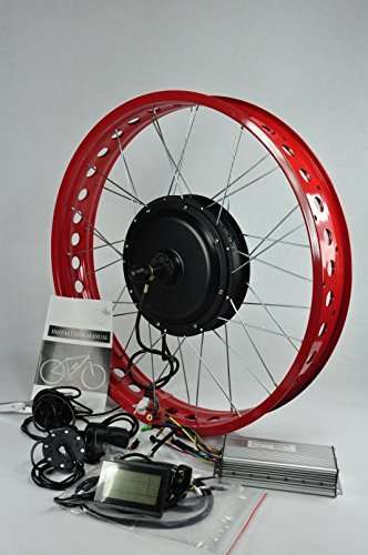 NBPower 26inch 48V 1500W Rear Wheel Fat Tire Electric Bike Kit,1500W Brushless Gearless Motor for Electric Beach Bike