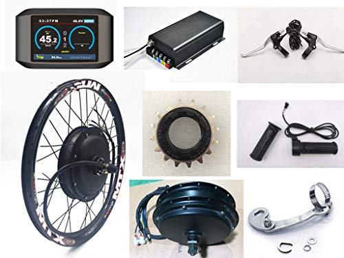 NBpower 2018 Newest 26nch 5000W Rear Wheel Electric Bike Conversion Kit, 72V 100A Sine Wave Programmable Controller, TFT Display System, Disc Brake,5000W Brushless gearless Motor,