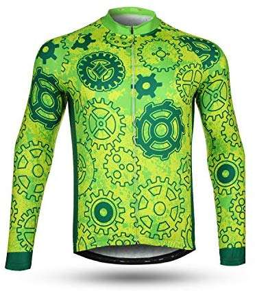 NEENCA Men's Cycling Bike Jersey Long Sleeve with 3 Rear Pockets,Cycling Biking Shirt,Moisture Wicking,Breathable,Quick Dry