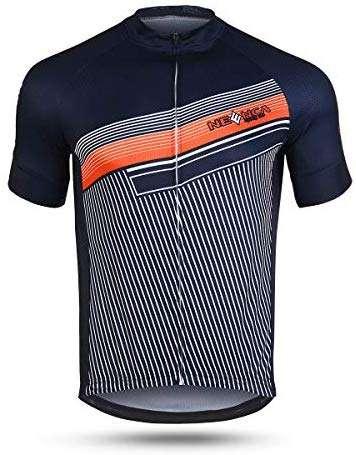 NEENCA Men's Cycling Bike Jersey Short Sleeve with 3 Rear Pockets,Cycling Biking Shirt Full Zipper Breathable Quick Dry