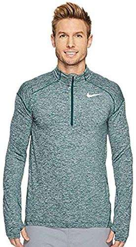 NIKE Men's Element Dri-Fit Half Zip Running Shirt, Heather Green/Metallic (Large)