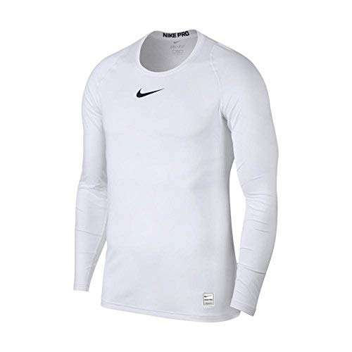 NIKE Pro Long Sleeve Compression Top (White/Black) (M)