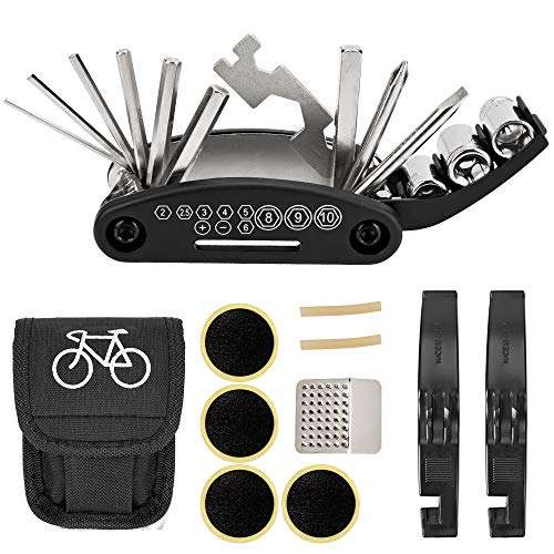 NSpring Bicycle Repair Tool Kit - 16 in 1 Multifunction Bike Fix Tools with Portable Bag and Two Tire Pry Bar Rods – Practical Bicycle Repair Tool