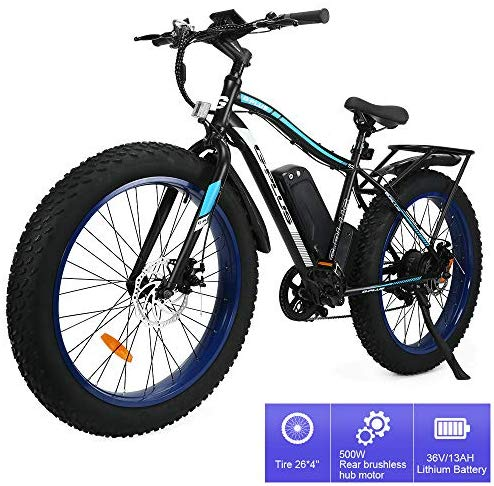 "New 26"" 500W 13AH Fat Electric Bicycle Snow Mountain Beach LCD Ebike With 7 Speed Lithium Battery"