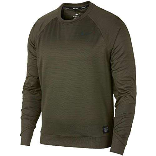 Nike Dry Men's Brushed Golf Crew Long Sleeve Shirt Olive Green 932316 396