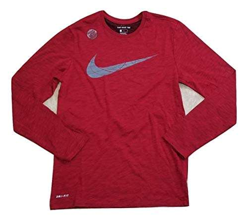 Nike Dry Swoosh Logo Men's Long Sleeve Athletic Cut T-Shirt Size M Red