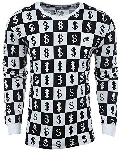 Nike Mens Long Sleeve Money $ T Shirt Black White Size 2XL AO8048-100