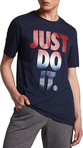 Nike Men's Sportswear Just Do It USA Graphic T-Shirt, (Obsidian/White, M)
