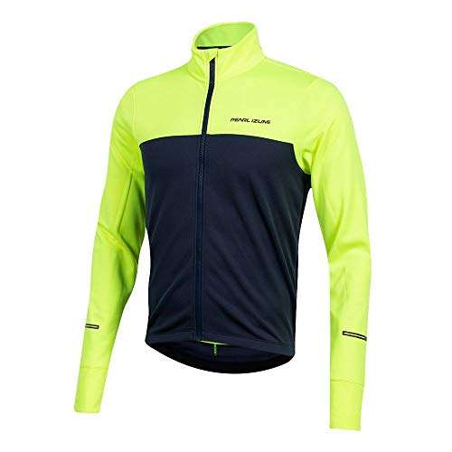 PEARL IZUMI Men's Quest Thermal Cycling Jersey, Screaming Yellow/Navy, Medium