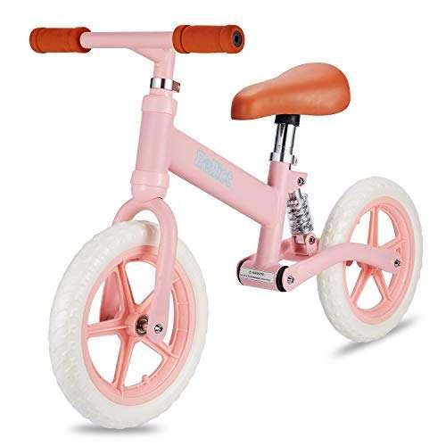 PELLIOT Balance Bike-12 Wheels Light Weight No-Pedal Toddlers Push Bike for Children Age 3-6 (Pink)