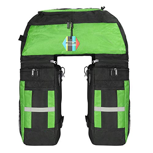 PELLOR Rear Bicycle Bag, 3 in 1 Pannier Bags MTB Bike Rack Bag with Rain Cover 70L Waterproof Detachable