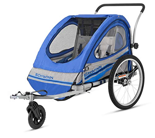 Pacific Cycle Schwinn Trailblazer Double Bicycle Trailer,Blue/Gray (Renewed)
