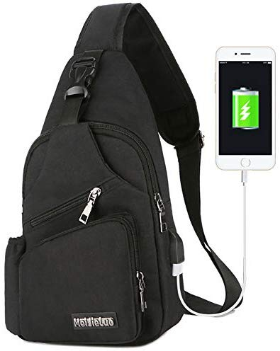 Peicees Small Travel Gym Bike Sling Bag, Laptop iPad Mini Sling Chest Cross Body Backpack, Water Resistant One Shoulder EDC Crossbody Daypack with Water Bottle Pocket USB Charging for Men Women