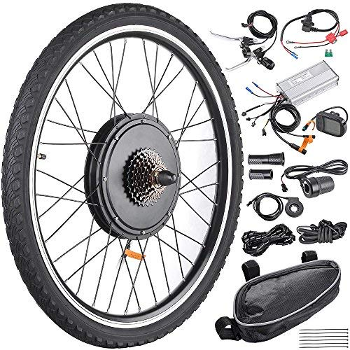"RAYKUNRONG 48V 1000W 26"" Electric Bike Conversion Kit, Rear Wheel Electric Bicycle Motor Conversion Kit E-Bike Cycling Hub with LCD Display and PAS System"