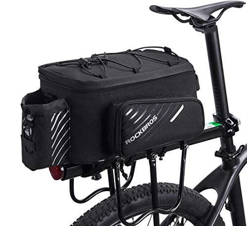 ROCK BROS Bike Trunk Bag Bicycle Rack Rear Carrier Bag Commuter Bike Luggage Bag Pannier with Rain Cover