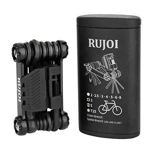RUJOI Bike Multi Tool with Chain Breaker,Bike Tools All in one kit Set with Allen Wrench,Screw,Spoke Wrench,Torx,Chain Broker for Mountain, Road Bicycle Repair -Aluminum Bag