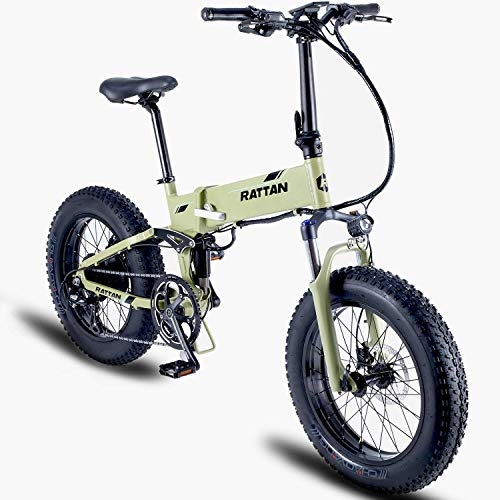 Rattan Fat Bear 20 Inch Full Suspension Fat Tire Snow Electric Bicycle 48V 500W 11.6AH Lithium Battery max 950W Beach Electric Bike Adults EBike Smart I-PAS Power System 8 Speed E-Bike
