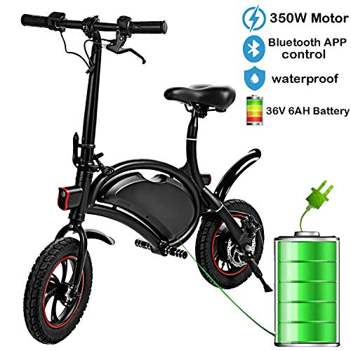Ravent 350W Folding Portable Electric Bike with 36V 6AH Lithium-Ion Battery Aluminum Bluetooth Control E-Bike APP Speed Setting Waterproof Electric Bicycle