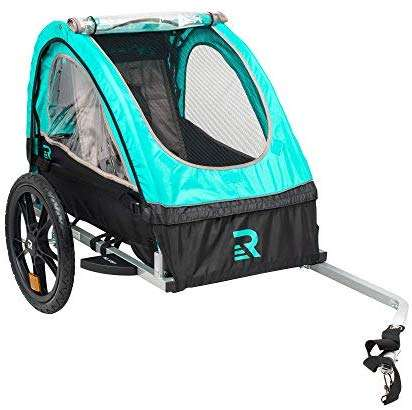 "Retrospec Rover Kids Bicycle Trailer Single and Double Passenger Children's Foldable Tow Behind Bike Trailer with 16"" Wheels, CPSC Approved Safety reflectors, and Rear Storage Compartment (Renewed)"