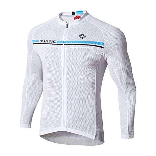 Santic Cycling Jersey Men's Long Sleeve Bike Reflective Full Zip Bicycle Shirts with Pockets