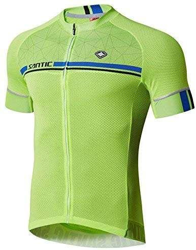 Santic Cycling Jerseys Men's Short Sleeve Bike Shirts Full Zip Bicycle Jacket with Pockets