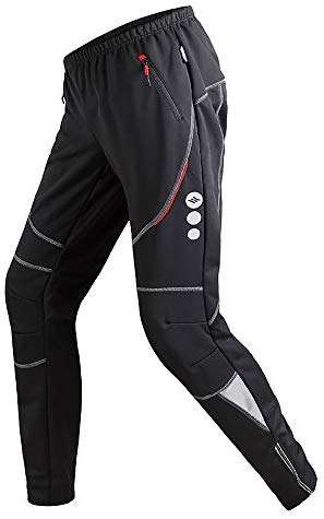 Santic Mens Cycling Pants Fleece Thermal Windproof Bike Trousers Winter Bicycle Warm Athletic Pants