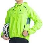 Santic Mens Windproof Cycling Jackets with Hoodie Bike Reflective Rain Jacket Long Sleeve Bicycle Wind Coat