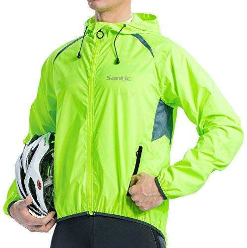 Santic Mens Windproof Cycling Jackets with Hoodie Bike Reflective Rain Jacket Long Sleeve Bicycle Wind Coat