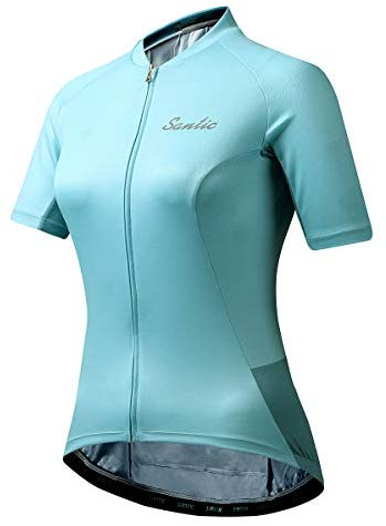 Santic Women Cycling Jersey Short Sleeve Bike Jersey Bike Jacket Full-Zip