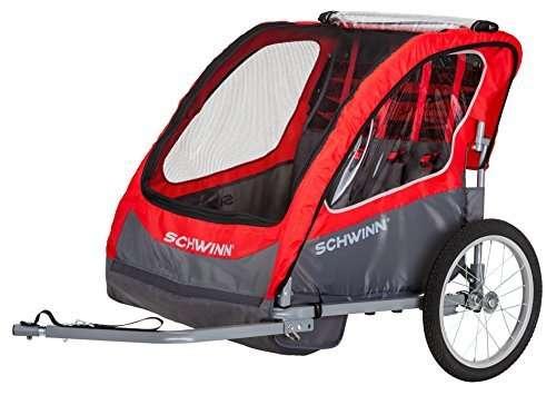 """Schwinn Caribou Double Bike Trailer with Quick-Release Wheels, 16"""" Wheels"""