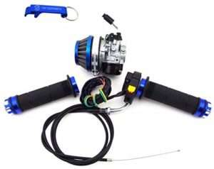TC-Motor Racing Carburetor Carb Blue Air Filter Throttle Handle Grips Cable Switch Kit For 2 Stroke 50cc 60cc 80cc Gas Motorized Bicycle
