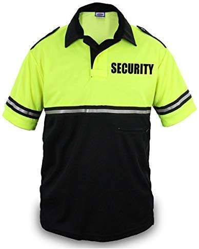 Two Tone Security Bike Patrol Shirt with Reflective Stripes and Zipper Pocket